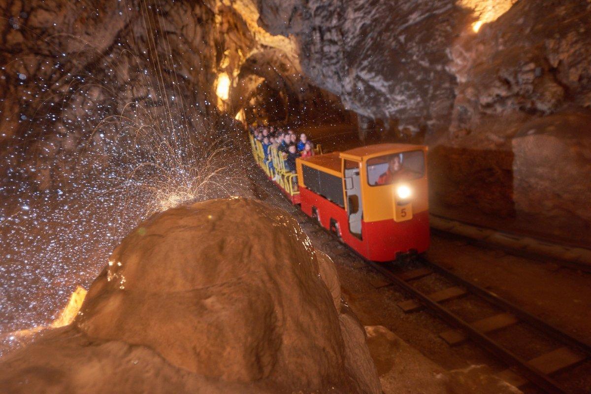 Electric train in Postojna cave